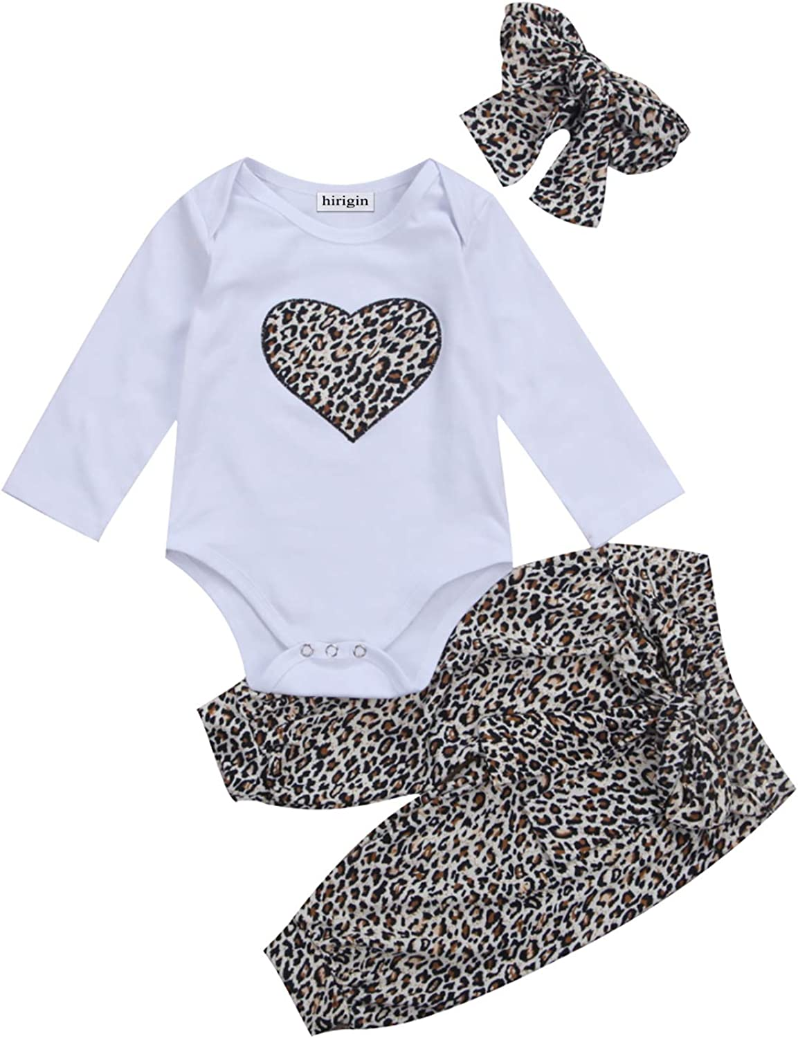 Carolilly Infant Toddler Baby Girl Clothes Set Heart Print Romper Jumpsuit Leopard Pants with Headband Outfit Set