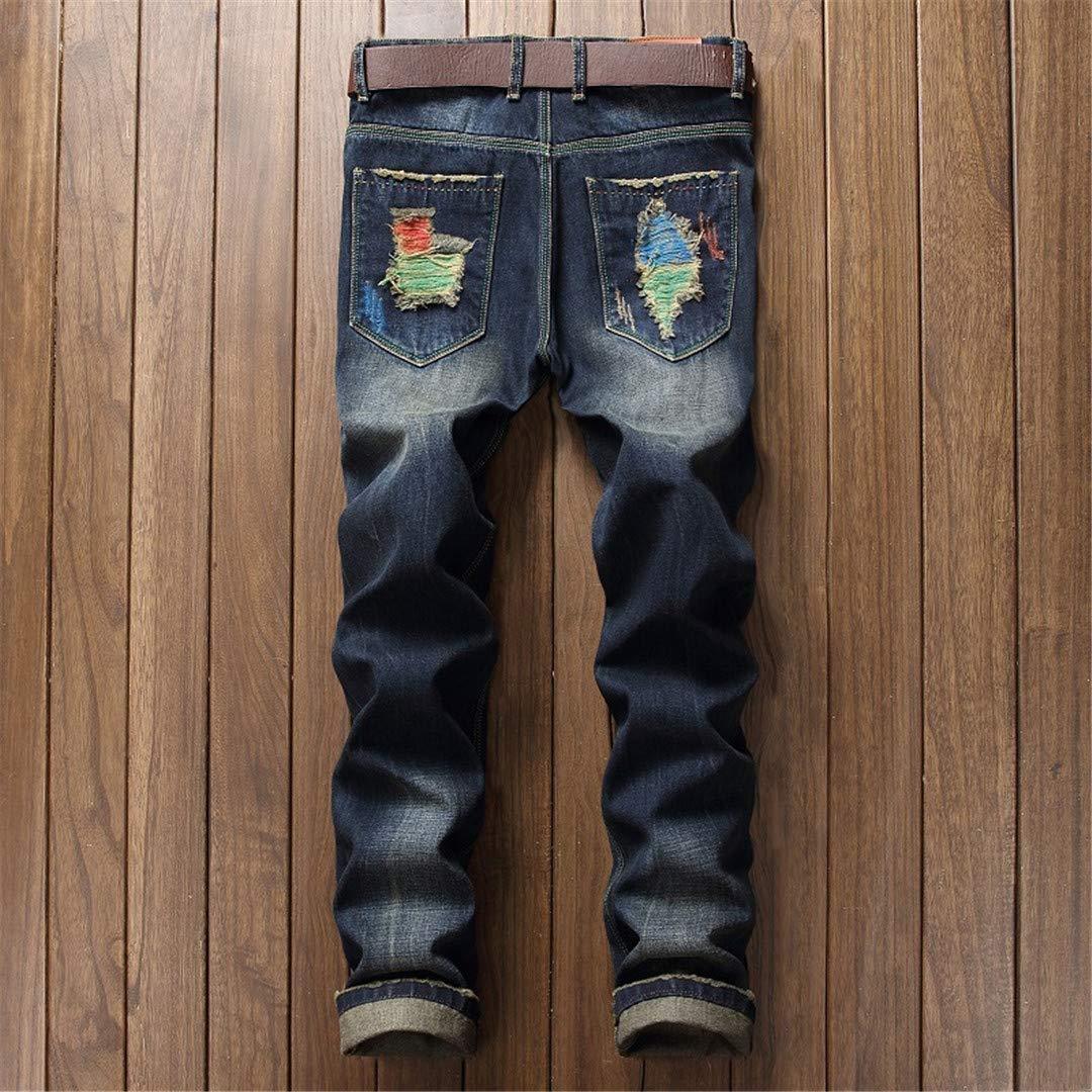 OKilr Lies Mens Jeans Biker Slim Fit Ripped Skinny Casual Jeans Pants