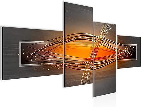 Bilder abstrakt Wandbild 150 x 60 cm Vlies - Leinwand Bild XXL Format  Wandbilder Wohnzimmer Wohnung Deko Kunstdrucke Orang 4 Teilig - Made IN  Germany ...