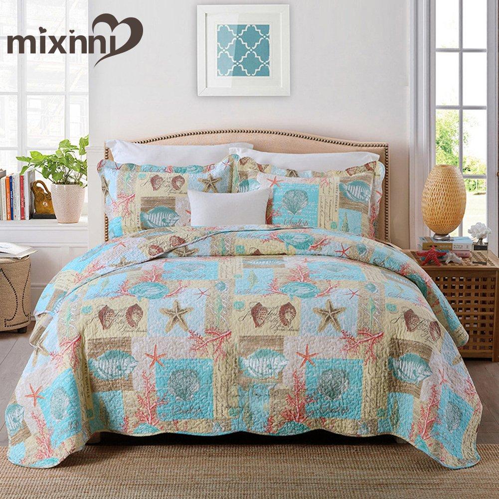 mixinni® Seashell Beach Bedding Set Queen Beach Theme Quilt Set With Shams Shell Print Pattern Ocean 100% Cotton Resversible Bedspread/Patchwork quilt MI065-Q