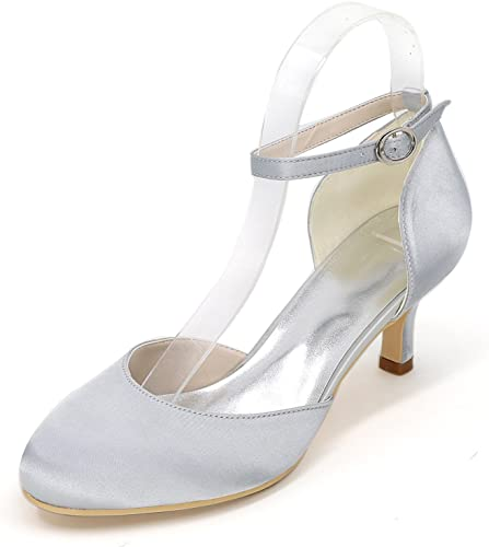 Elaboky Scarpe da Sposa Donna Satin White Avorio Autunno