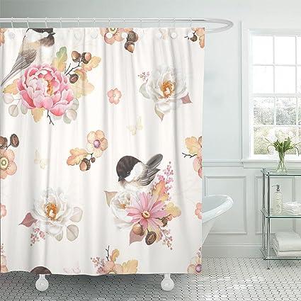 Amazon TOMPOP Shower Curtain Flower Pink Peony White Rose Oak