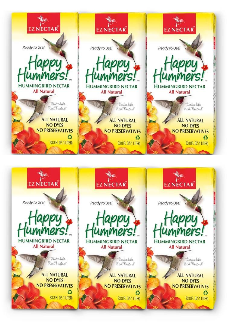 EZNectar The Only Ready-to-Use Hummingbird Nectar Exactly Like Flower Nectar. Patented, Preservative & Dye Free, Hummingbird Food - Nectar (6 Piece) 202.8 FL OZ TOTAL
