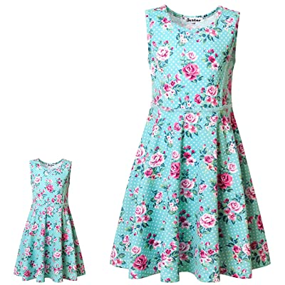"Jxstar Matching Girls & Doll Flower Dresses Sleeveless Summer 18"" Dolls Clothes: Clothing"