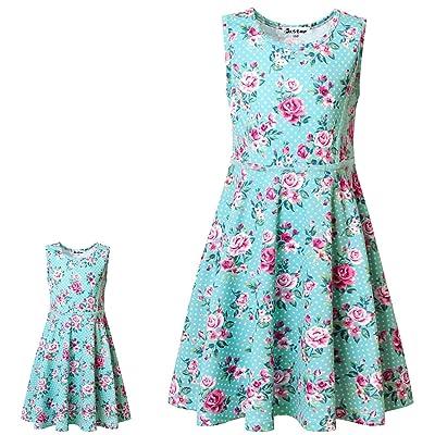 "Jxstar Matching Girls & Doll Flower Dresses Sleeveless Summer 18\"" Dolls Clothes: Clothing [5Bkhe1902886]"