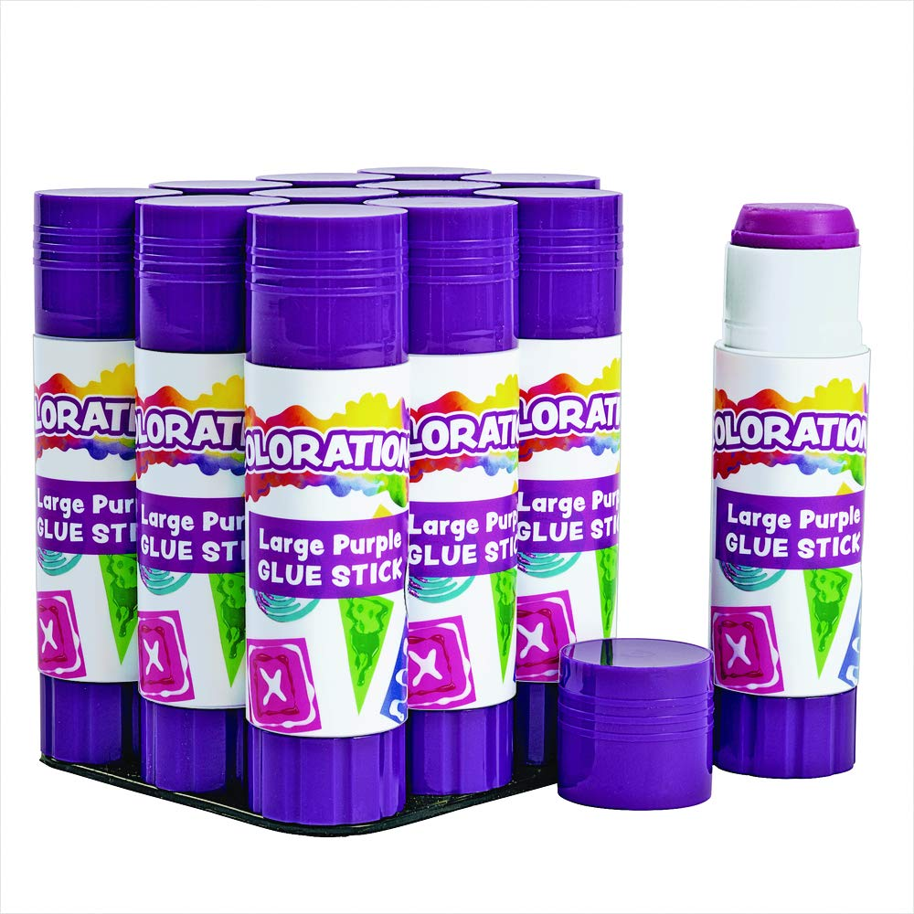 Colorations Best-Value Washable Large Glue Sticks Classroom Supplies for Arts and Crafts (Pack of 12)