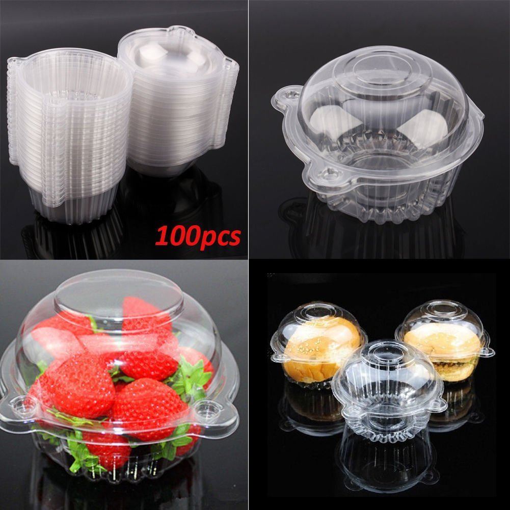 100 Large Cupcake Box, Singel Plastic Clear Muffin Cake Pod Dome Case Cupcake Holder for Home Kitchen, 112mm X 80mm Zerone