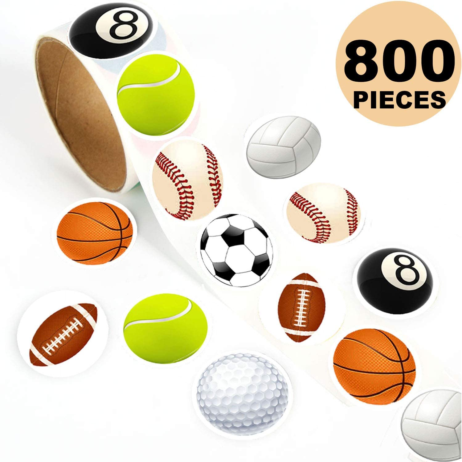 OuMuaMua Ball Cute Label Sticker Sheets- 800 Pcs Suitcase Stickers Vinyl Decals, 1-3/5 Inch Reusable Roll Sticker for Kids, Game Prizes, Teacher Reward, Party Favor & Supplies, 8 Styles