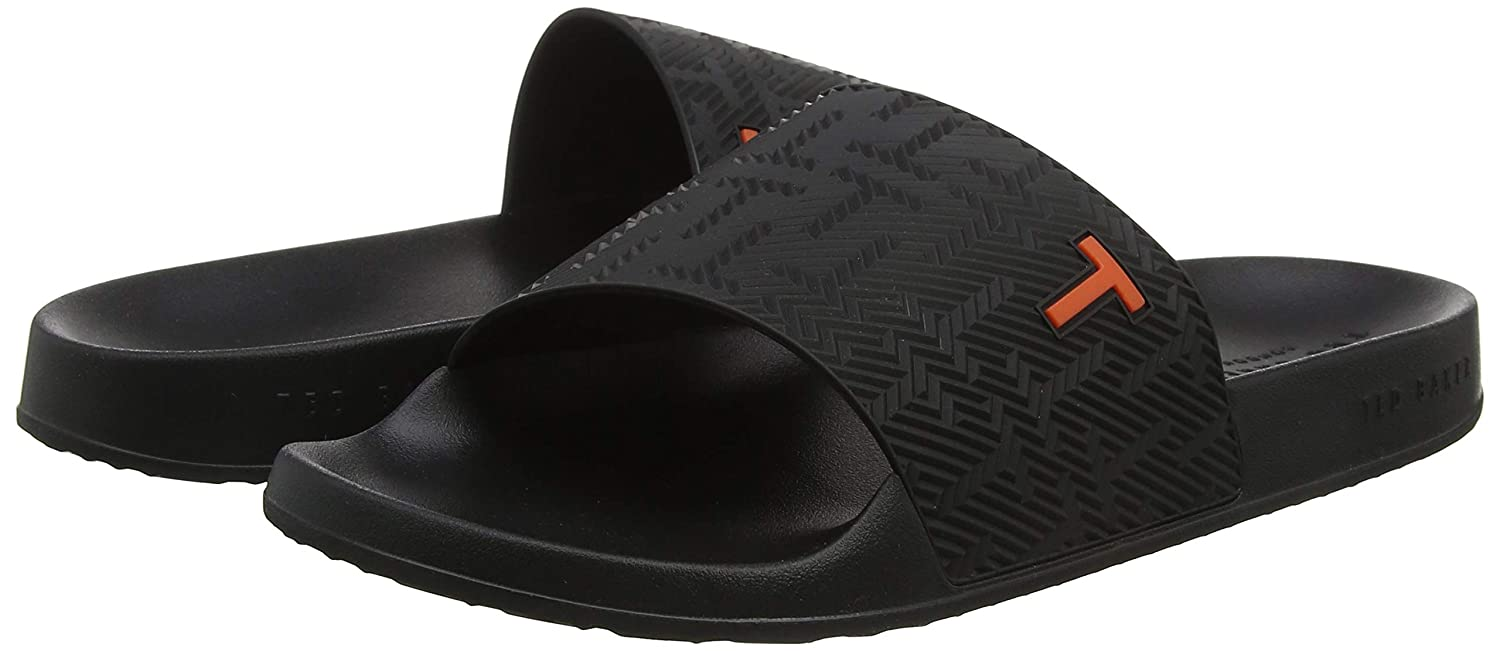 9e60c13ab945 Amazon.com  Ted Baker Men s Mastal Rubber Slip On Slide Black-Black-8  Shoes