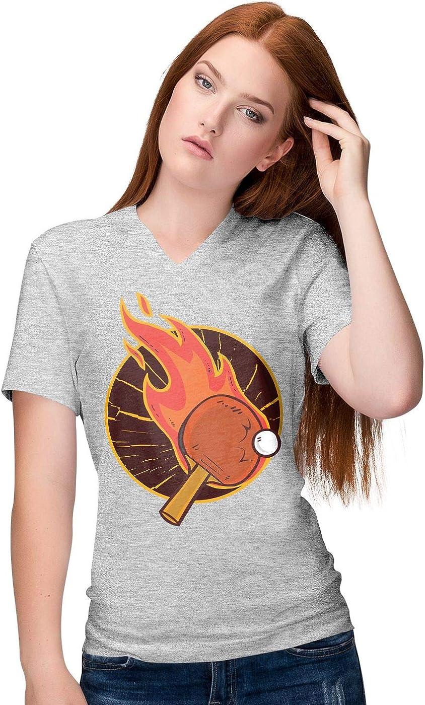 BLAK TEE Mujer Table Tennis aka Ping Pong Camiseta V-Neck