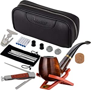 Scotte Luxury Tobacco Smoking Pipe Set,Leather Tobacco Pipe Pouch Wood Pipe Accessories(Redwood Scraper/Stand/Filter Element/Filter Ball/Small Bag/Box) (Black)