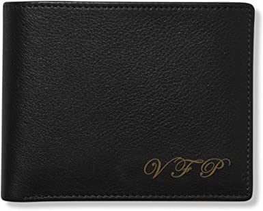 Personalized Mens Black Leather Bi-fold Wallet with Initials Or Name Custom Engraved Free