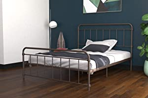 DHP Winston Metal Bed Frame, Multifunctional Piece with Adjustable Heights for Under Bed Storage, Bronze - Queen