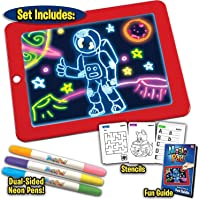 True Shades Magic Pad | Sketch Drawing pad | Light Up LED Glow Board | Draw, Sketch, Doodle, Art, Write, Learning Tablet | Includes 3 Dual Side Markers, 30 Stencils and 8 Colorful Effects for Kids