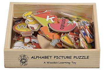 Skillofun - L-55B Wooden Alphabet Picture Puzzle, Multi Color