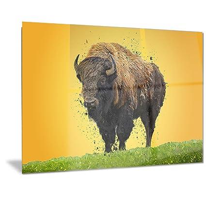 Amazon.com: Designart Lone Bison- Animal Metal Wall Art - MT2326 ...