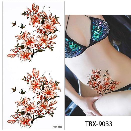adgkitb 4pcs Mujeres Flor Cuerpo Tatuaje Temporal Pecho Brazo ...
