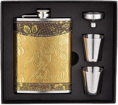 Hip Flask Lot de 2 tasses et 1 entonnoir pour ranger un coffret cadeau dor/é