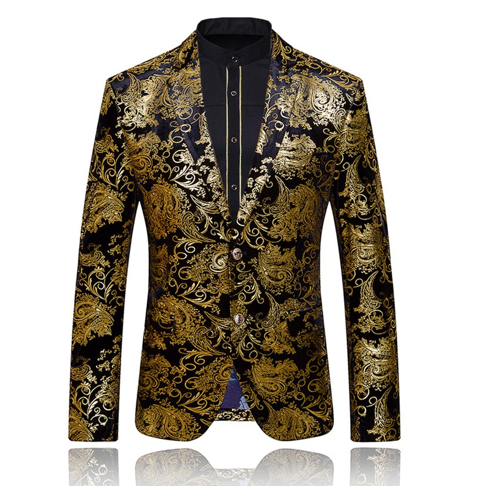WEEN CHARM Men's Designer Floral Printed Single Breasted Two Button Modern Fit Tux Blazer Jacket Coat (S, Gold)