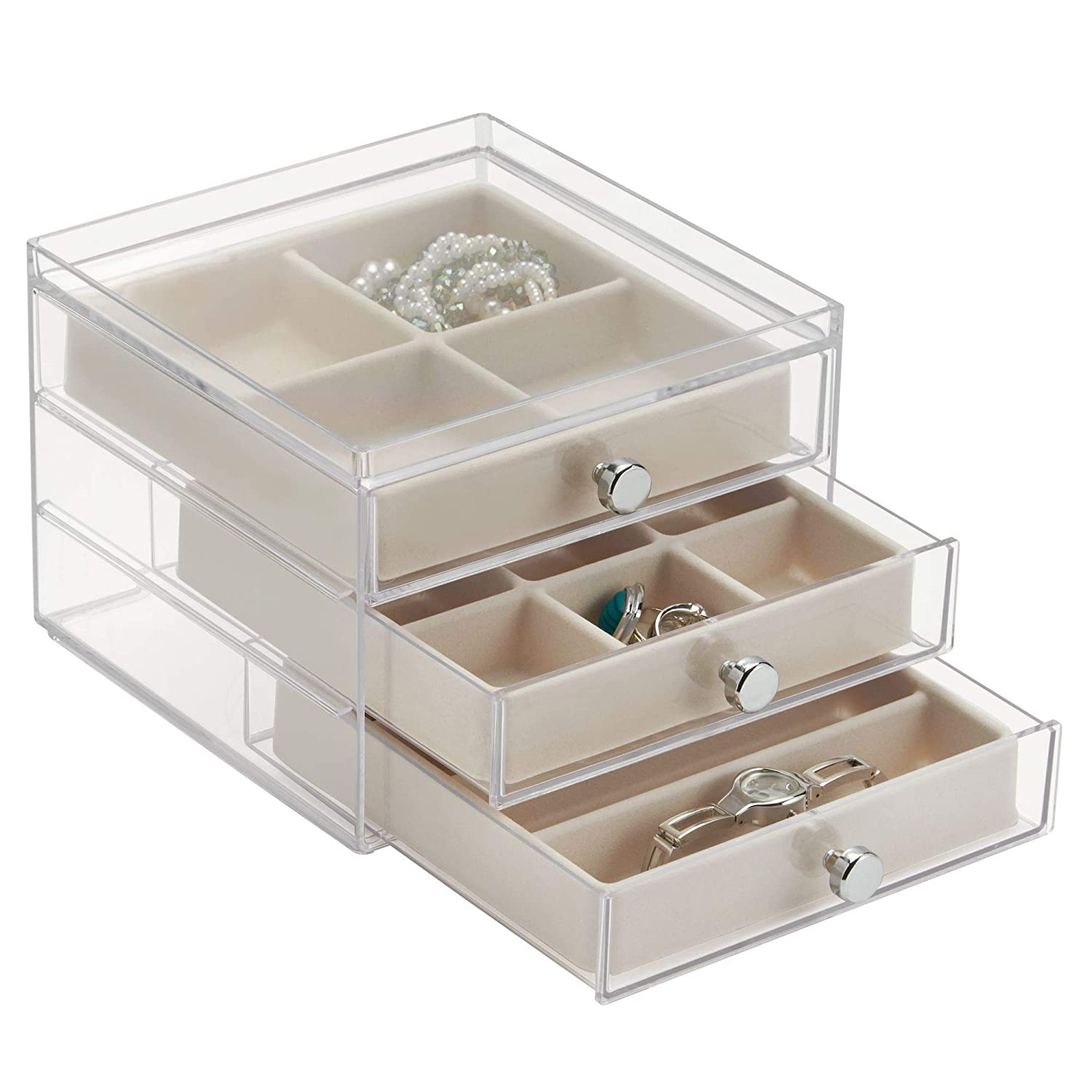 "iDesign Plastic 3 Jewelry Box, Compact Storage Organization Drawers Set for Cosmetics, Hair Care, Bathroom, Dorm, Desk, Countertop, Office, 6.5"" x 7"" x 5"", Clear and Ivory White"