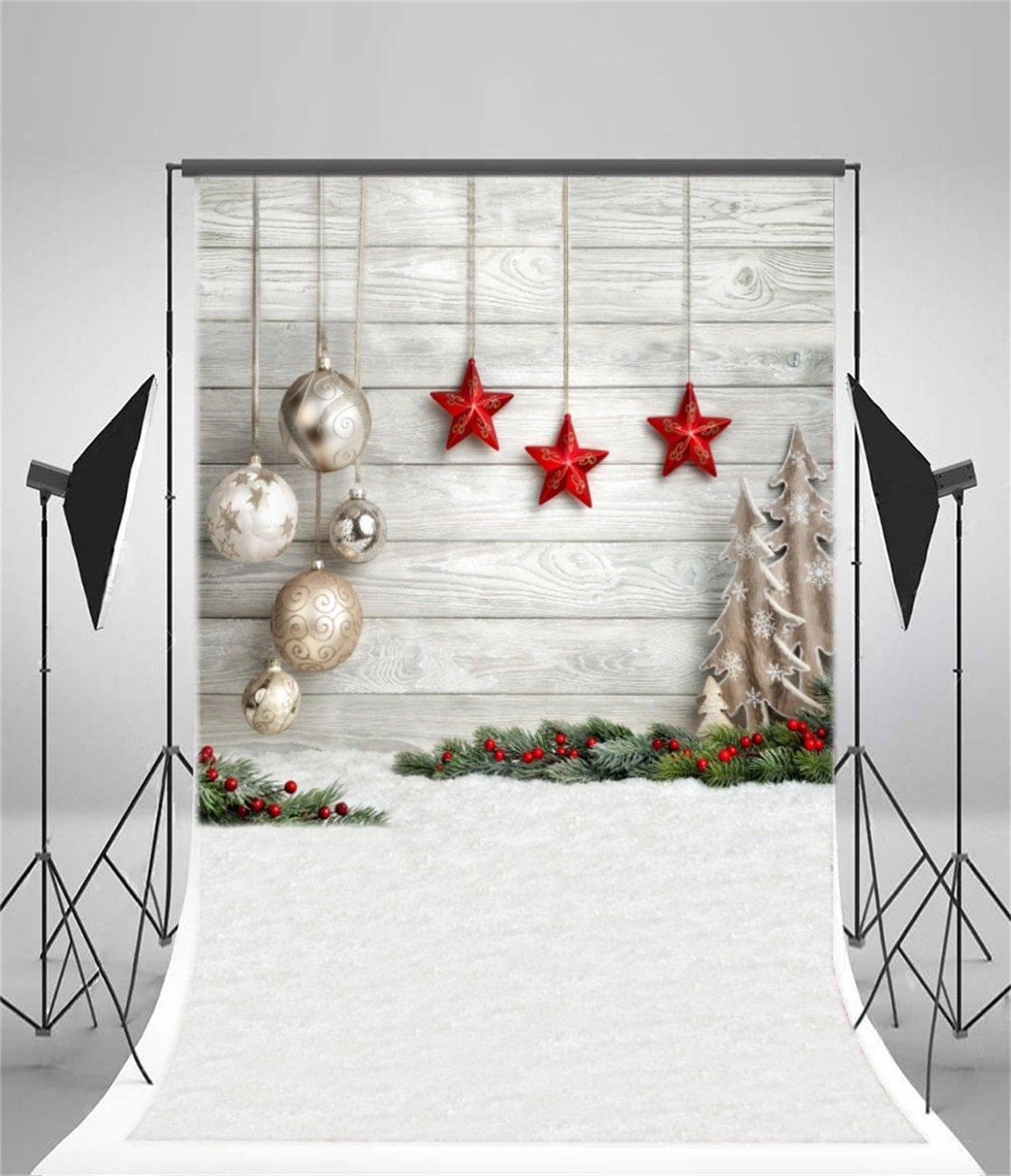 Amazon.com : AOFOTO 5x7ft Christmas Backdrop Xmas Tree Balls Star ...