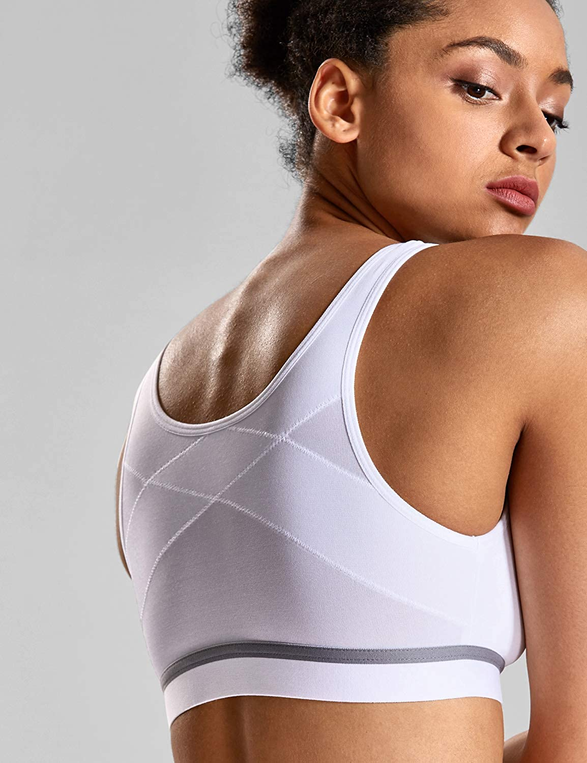 SYROKAN Womens High Impact Sports Bra Front Closure Cross Back Support Wirefree