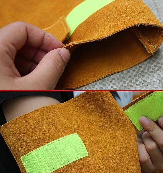 Piel resistente al calor de soldadura mangas brazo elástico Puños seguridad trabajo resistente a las chispas protección protector de brazo: Amazon.es: ...