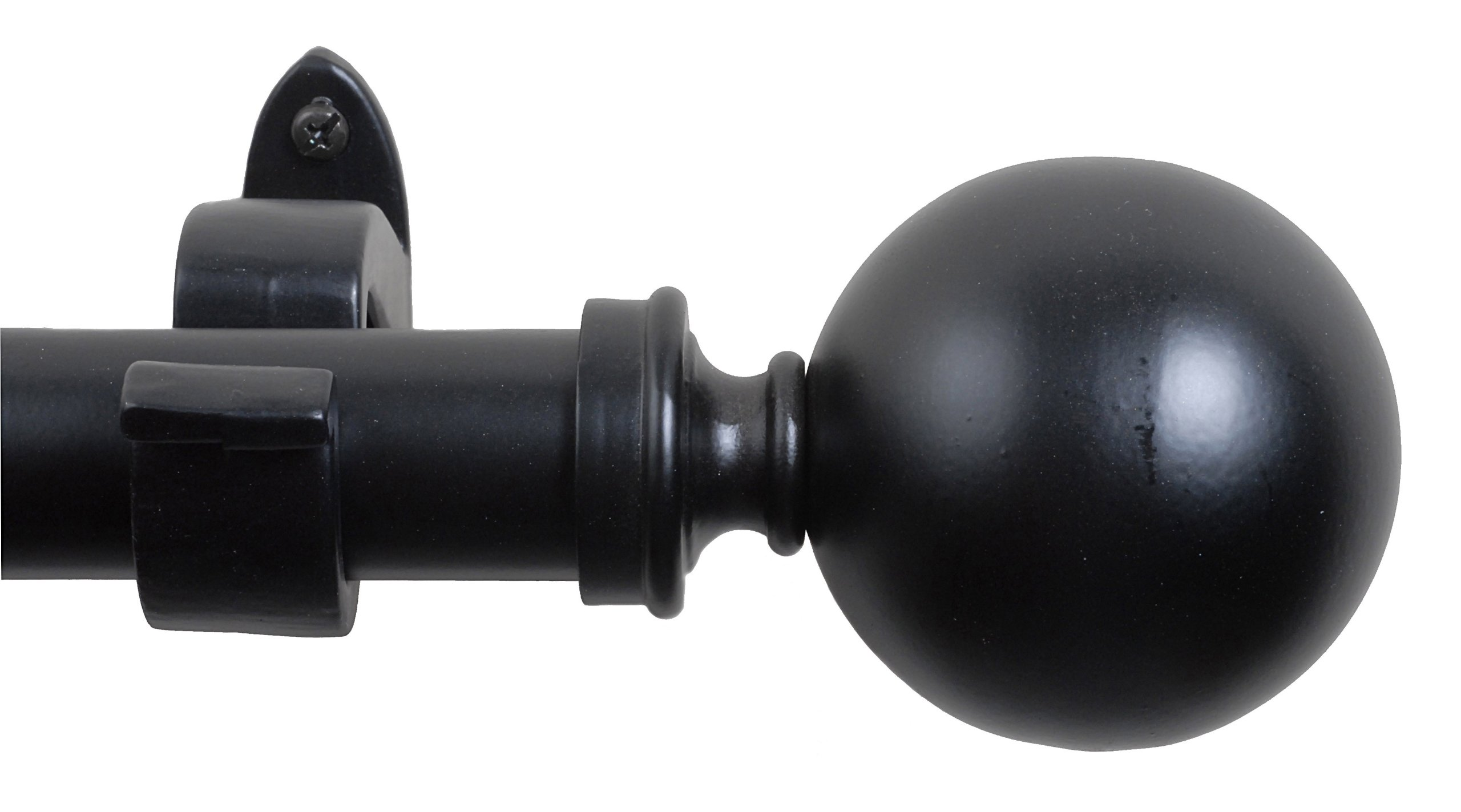 India House 29134 Ball Black Matte 36 by 66-Inch Curtain Rod with 1-Inch Pipe