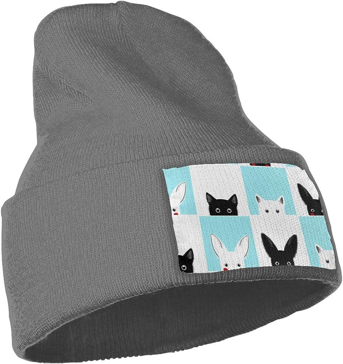 Cat Rabbit Chess Board Skull Caps Men /& Women Winter Warm Stretchy Knitting Beanie Hats
