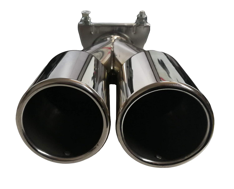 Auspuffblende Endrohr 2 x 70mm rund Edelstahl Doppelendrohr Auspuff