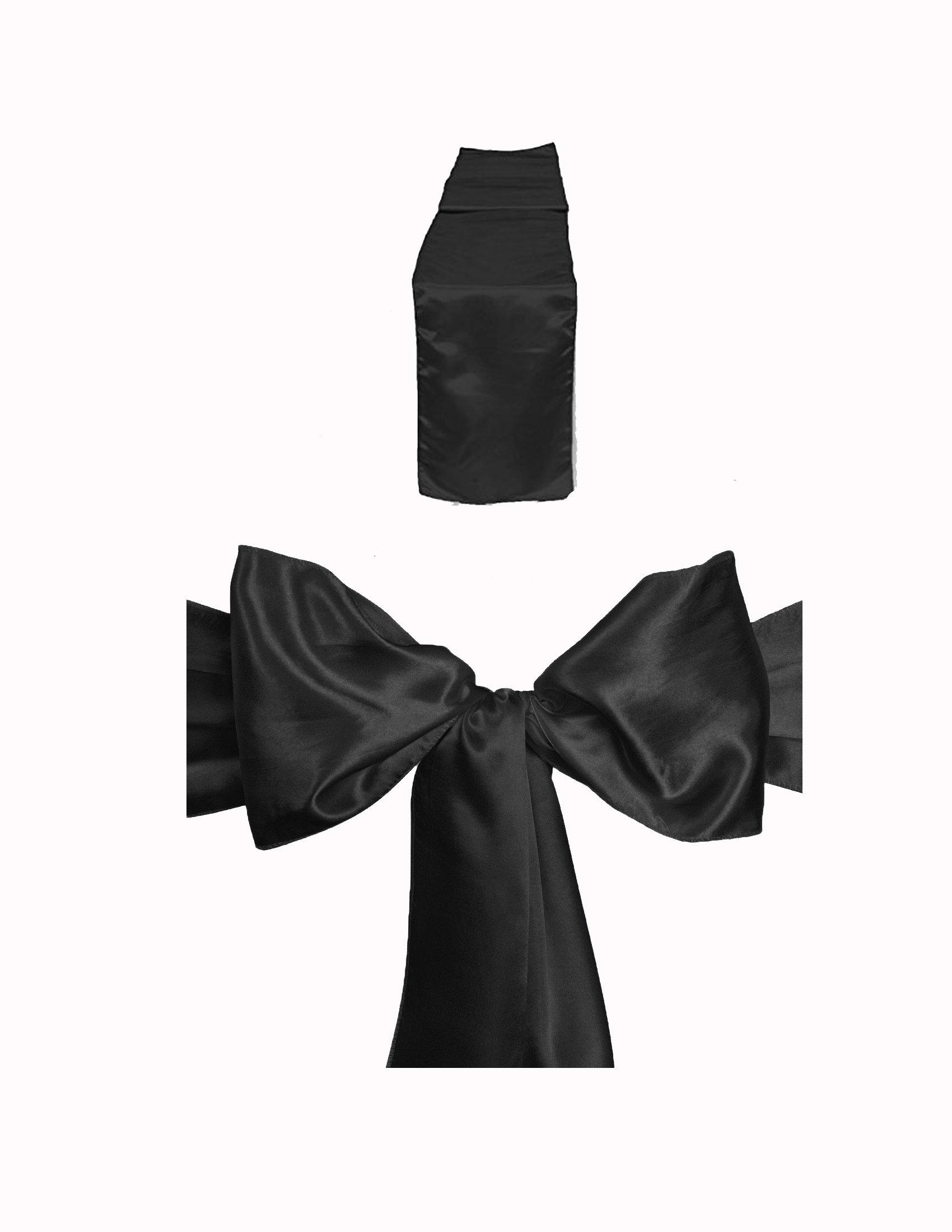 Elina Home Combo Satin Pack 10 Table Runner 12x108Inch & 50 Chair Bow Sash WeddingBanquet Kitchen HomeDecor (Black)