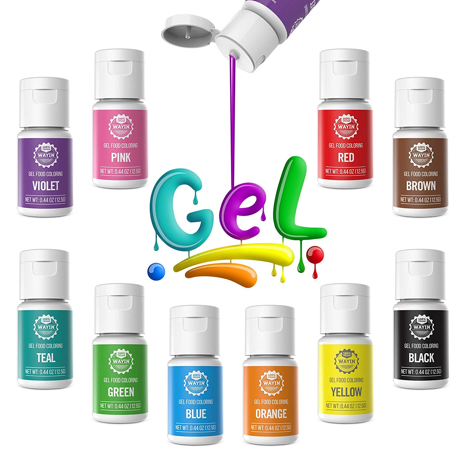 Gel Food Coloring 10x10ml Colors Set- Wayin Gel Based Vibrant Food Color Dye Flavorless Edible Icing Color Concentrated Neon Baking Color for Kids Cake Decorating Macaron Frosting Fondant Cookie Slime