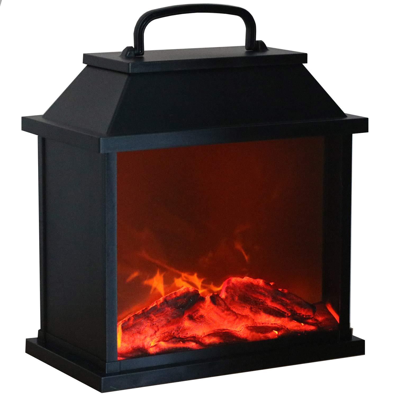 Tronje LED Fireplace Lamp XXL Black 4h-Timer 6 LEDs Artificial Fire Simulation Flame Effect Lantern USB