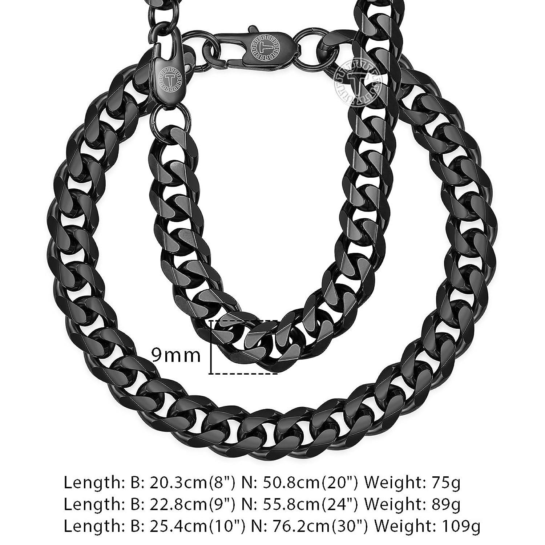 3ba88203e2da Davieslee - Juego de collar y pulsera de acero inoxidable para hombre