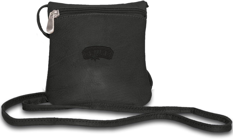 NBA San Antonio Spurs Pangea - Mini bolso de mano de piel para mujer, color negro: Amazon.es: Deportes y aire libre