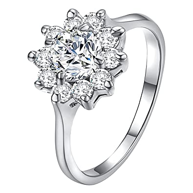 8c63b6ba3 Yoursfs Snowflake Ring for Women 18k Gold Plated Halo Zirconia Flower Wedding  Rings Jewelry Gifts: Amazon.ca: Jewelry