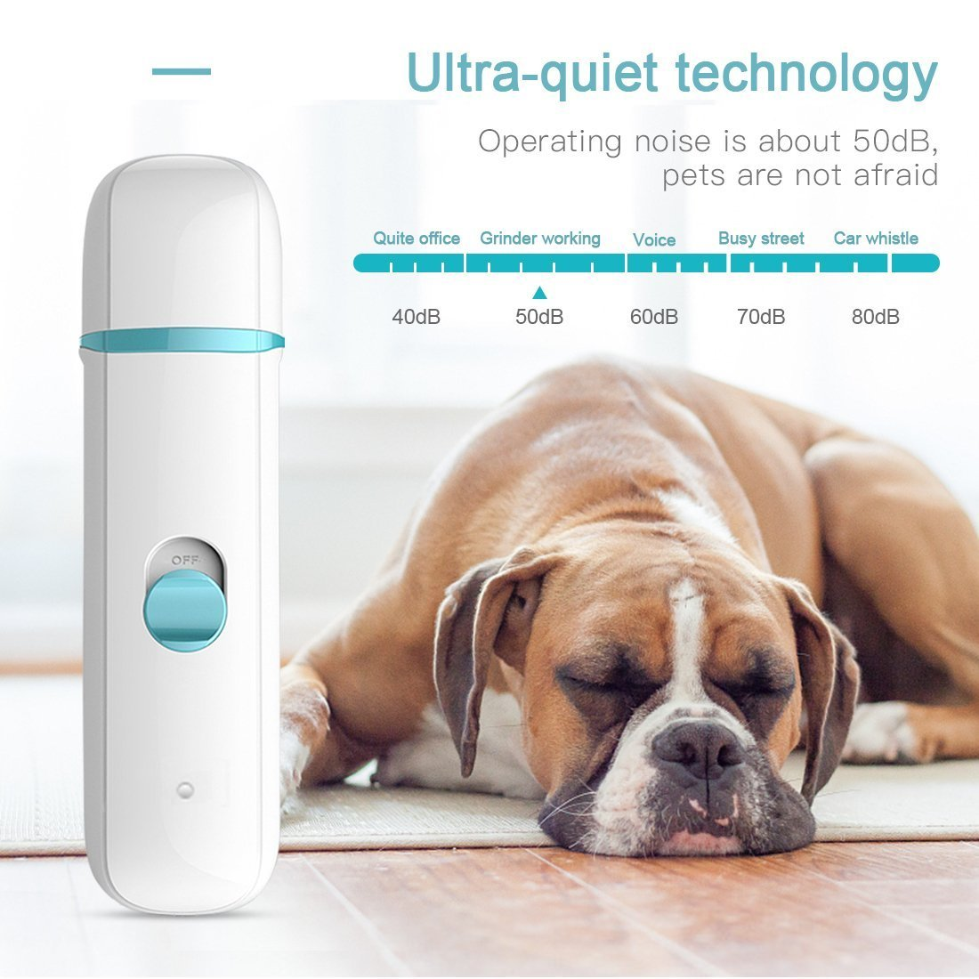 DIGDAN Dog Nail Grinder, Electric Pet Nail Grinder with USB Fast Charging for Gentle Painless Paws Grooming, Portable Low Noise Nail Clippers for Dogs, Cats and Other Animal Paws by DIGDAN (Image #5)