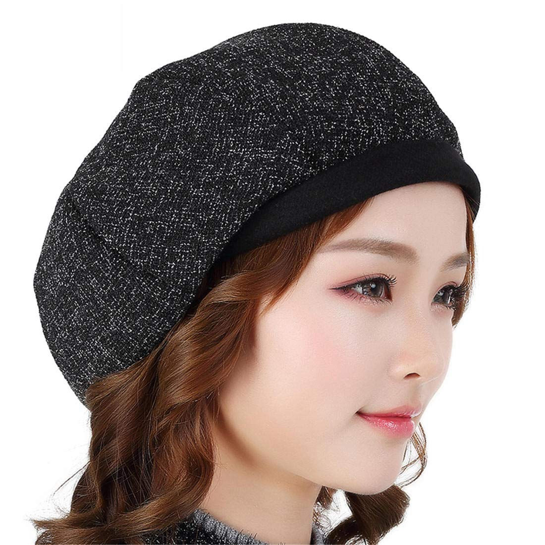GJPSXTY Breathable Comfort Women's Casual Octagonal hat Spring and Autumn Sunscreen Beret hat, XL, Black