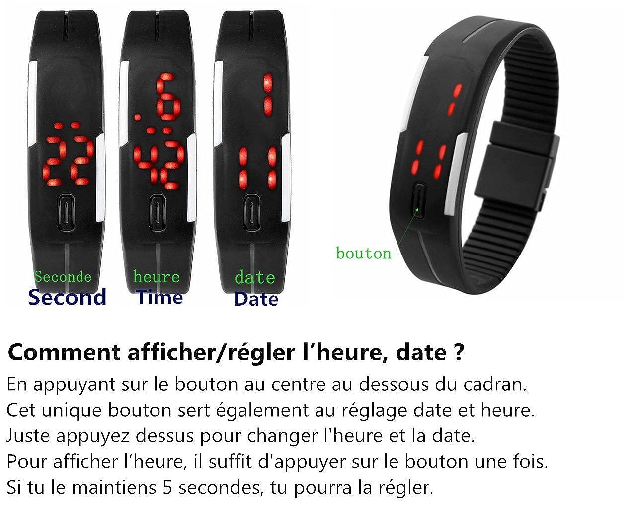 JSDDE Hommes Femmes Caoutchouc Montre LED Date Bracelet Poignet Numérique Montre de Sport: Amazon.fr: Montres