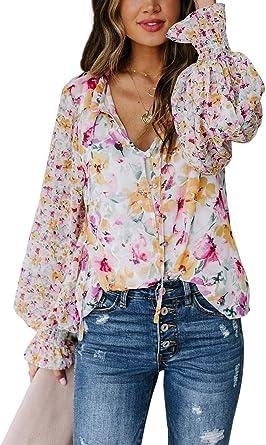 Tomwell Camisetas De Mujer Estampado De Flores Coloridos Tops De Manga Larga Blusas De Mujer Primavera Y Otoño Casual Col En V Top Blusa Camisa Escote ...