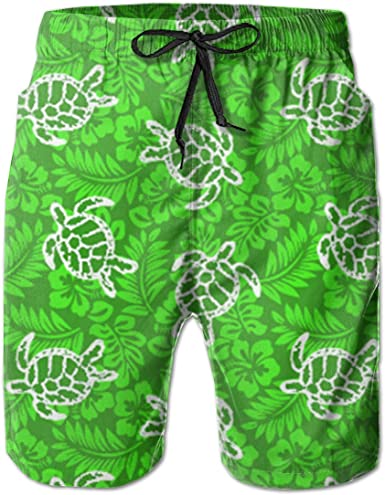 Mens Aloha Turtle Quickly Drying Lightweight Fashion Board Shorts Swim Trunks