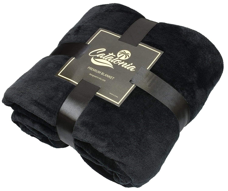 Catalonia Platinum Blanket with Sleeves, Ultra Plush Fleece Warm Blankets for Adult Women Men 185cm x 130cm, Black