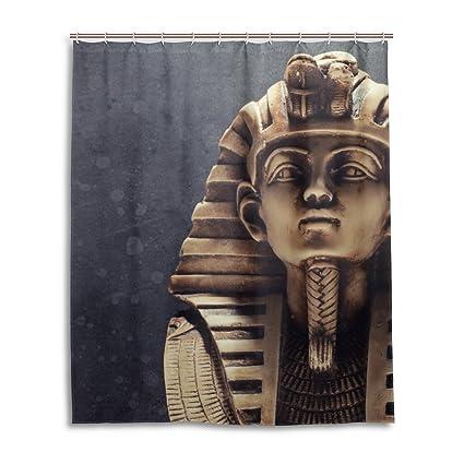 jstel Decor cortina de ducha piedra Faraón Tutankhamen máscara patrón impresión 100% tela de poliéster