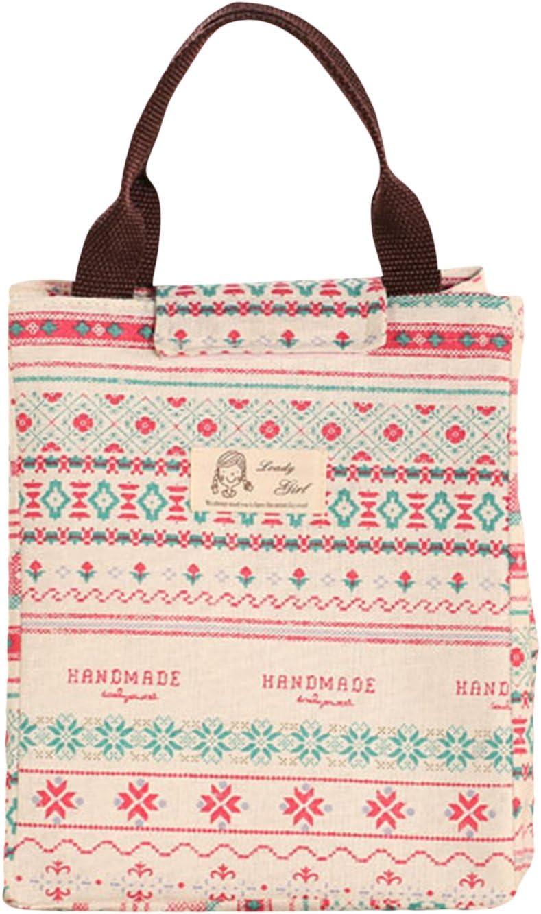 La Vogue Bolsa de Lona Aislamiento Almuerzo Oficina Camping Hogar 18.5×21×25CM Multicolor: Amazon.es: Hogar