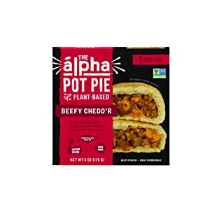 Alpha Foods Beefy Chedd'r Pot Pie | 8 oz (Pack of 6) | 100% Plant-Based Protein | Dairy Free | Frozen Pot Pie | Vegan Meat Substitute