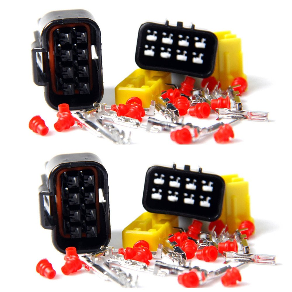 Qiorange Car Wire Cable Connector Plug in 8 Pins Way Waterproof Electrical Sets (8Pin 5 Set)