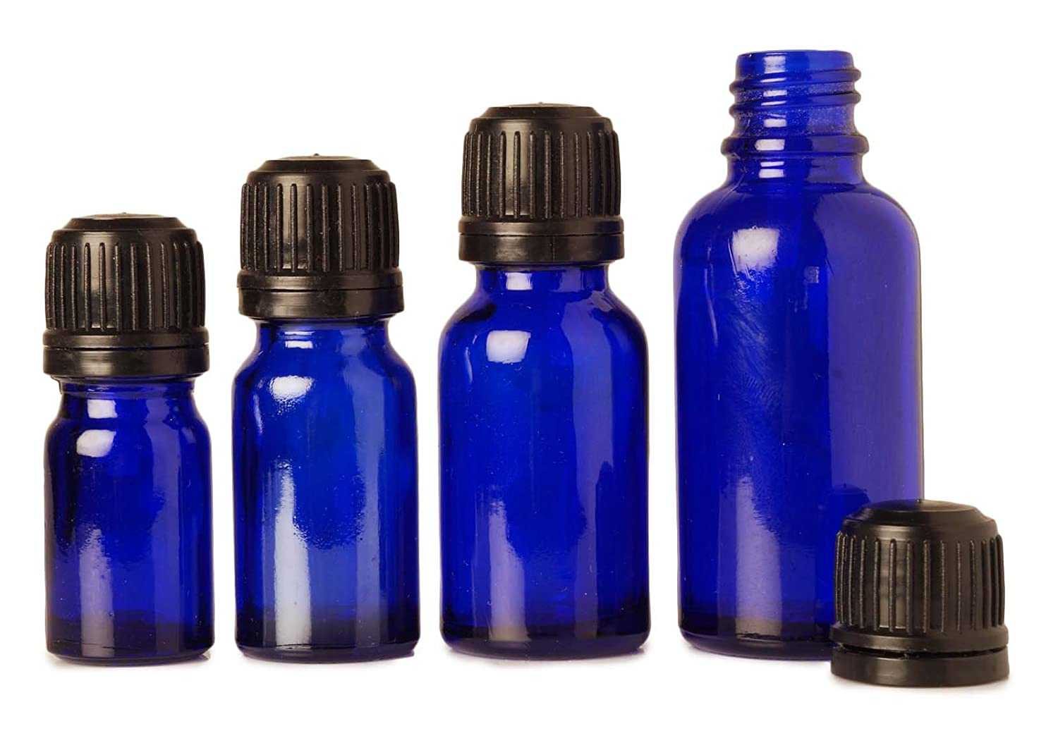 6 Pcs Blue Glass Empty Bottles Euro Dropper With Tamper Evident Black Screw Cap Aromatherapy Oils 5 ml MT Bottles & Jars