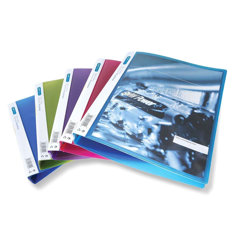 Rapesco 0718 Raccoglitore a 4 Anelli per Presentazioni, Capacità 25 mm, A4, Colori Assortiti Trasparenti