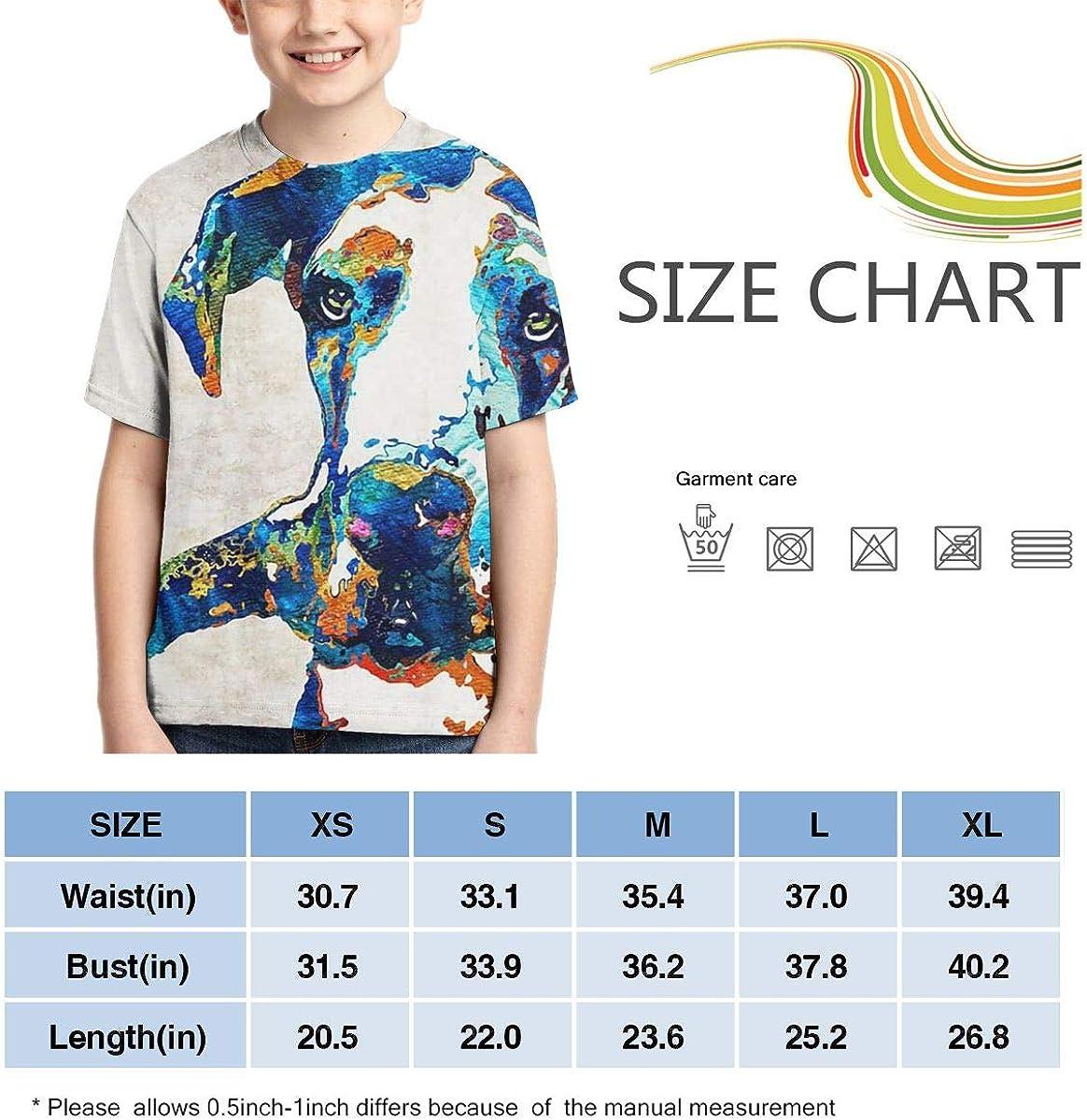 XS-XL Ruffled Tunic Tops Short-Sleeve Great Dane Art T-Shirts for Children