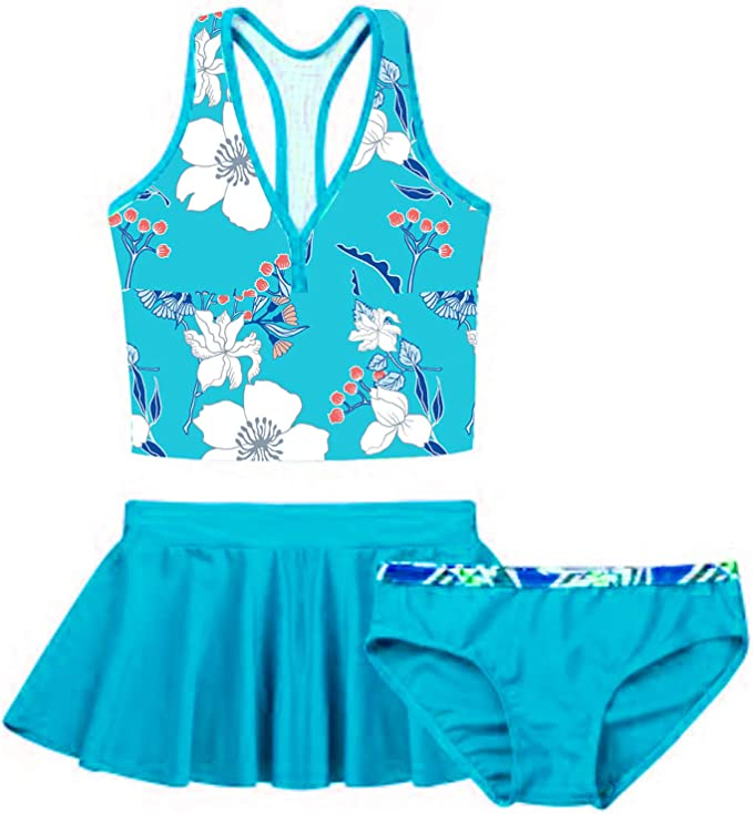 Badeanzug Schwimmanzug Tankini Set mit Top Slips Rock Kinder Mädchen 3tlg